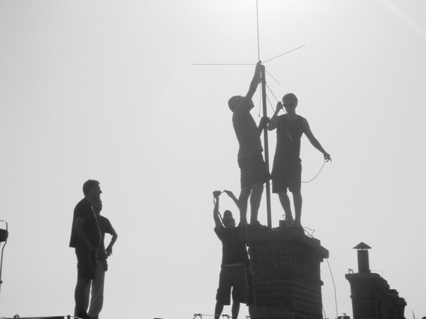 Antena set up on the roof
