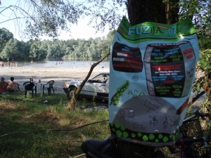 Fuzij poster and Drava river in the back